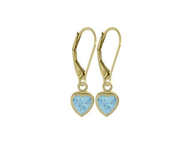 December 1.80 Carat Genuine Blue Topaz Yellow 14 Karat Gold Heart Leverback Earrings