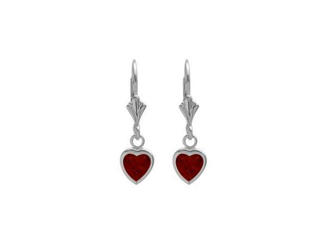 Sterling Silver 1.20 Carat 6mm Genuine Garnet Heart Leverback Earrings