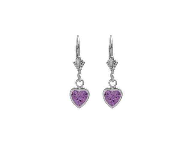 Sterling Silver 1.40 Carat 6mm Genuine Amethyst Heart Leverback Earrings