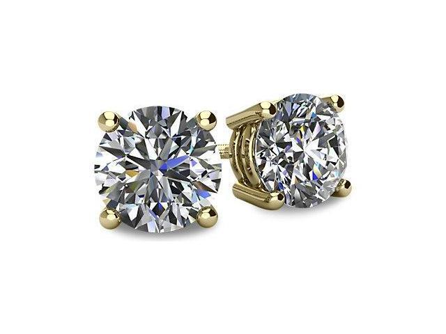 0.60tcw 14 Karat Yellow Gold Screwback Round Brilliant Cut Certified SI2 - I1, HI Diamond Earrings