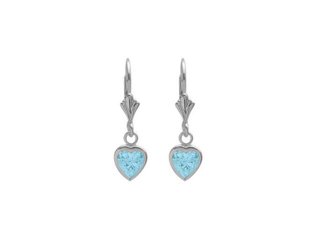 Sterling Silver 1.70 Carat 6mm Created Aquamarine Heart Leverback Earrings