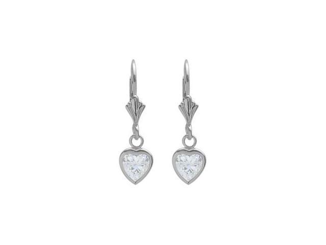 Sterling Silver 1.60 Carat 6mm Genuine White Topaz Heart Leverback Earrings