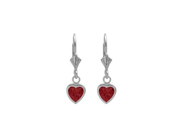 Sterling Silver 1.80 Carat 6mm Created Ruby Heart Leverback Earrings