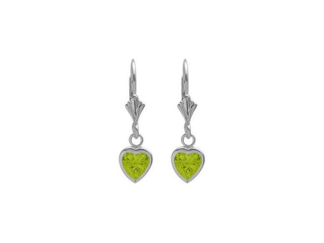 Sterling Silver 1.20 Carat 6mm Genuine Peridot Heart Leverback Earrings