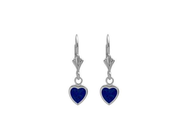 Sterling Silver 2.00 Carat 6mm Created Sapphire Heart Leverback Earrings