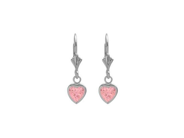 Sterling Silver 2.60 Carat 6mm Created Pink Tourmaline Heart Leverback Earrings