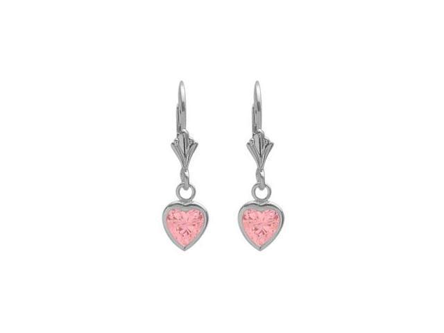 Sterling Silver 2.60 Carat 6mm Created Pink Tourmaline Heart Leverback Earrings