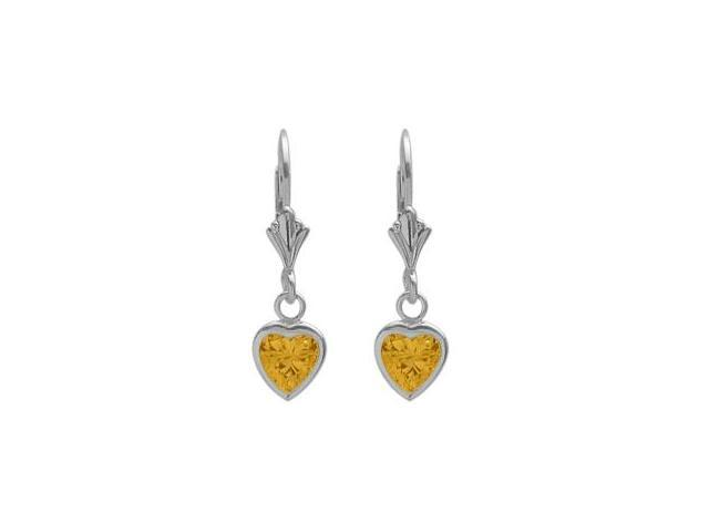 Sterling Silver 1.20 Carat 6mm Genuine Citrine Heart Leverback Earrings