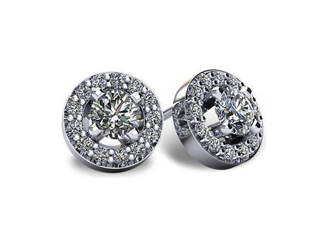 1.00tcw 14 Karat White Gold Screwback Halo I1, GH  Diamond Earrings
