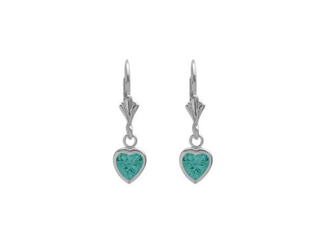 Sterling Silver 1.30 Carat 6mm Genuine Blue Topaz Heart Leverback Earrings