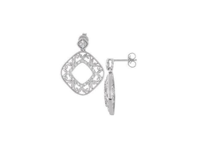 Genuine Sterling Silver Diamond Drop Earrings