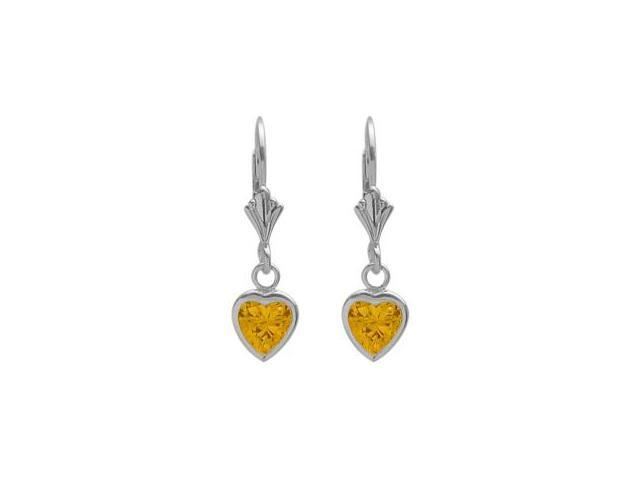 Sterling Silver 2.70 Carat 6mm Created Yellow Topaz Heart Leverback Earrings