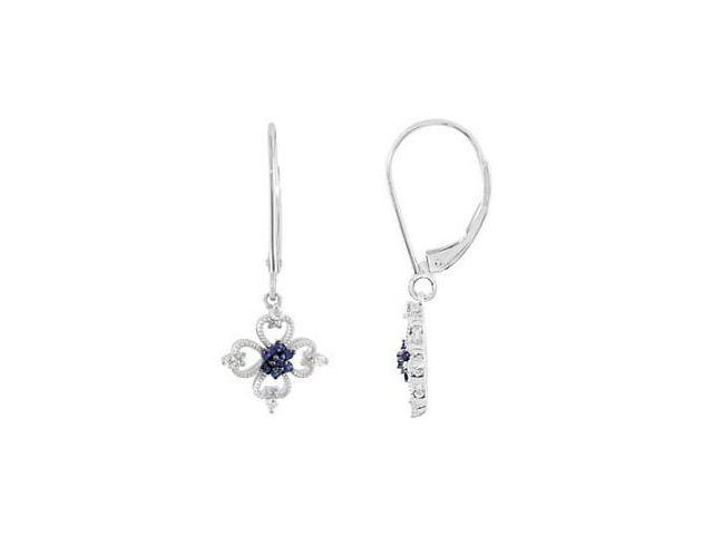 Genuine Sterling Silver Sapphire & Diamond Earrings