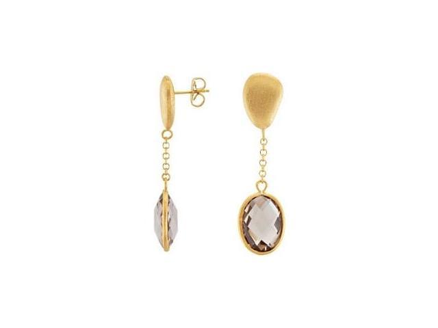 Genuine Sterling Silver Gold Plated Light Smokey Quartz Earrings