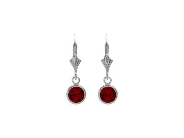 Sterling Silver 1.10 Carat 6mm Genuine Garnet Round Leverback Earrings