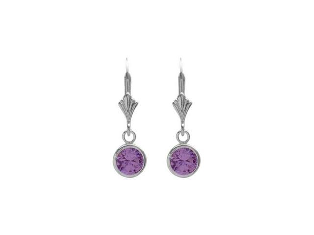 Sterling Silver 0.90 Carat 6mm Genuine Amethyst Round Leverback Earrings