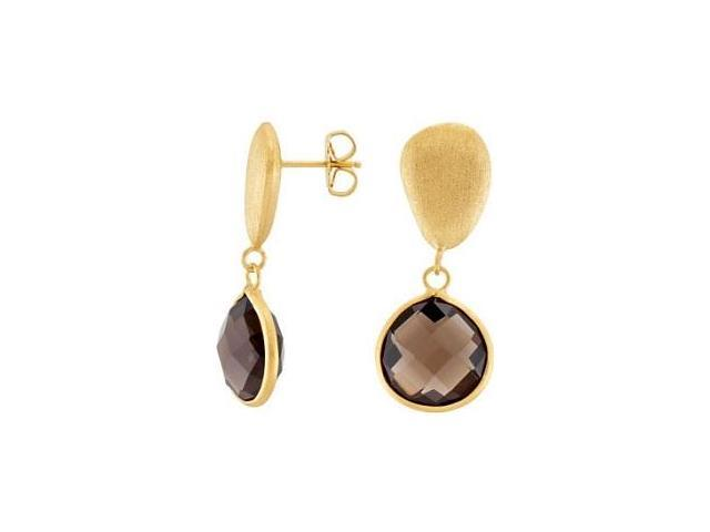 Genuine Sterling Silver Gold Plated Smokey Quartz Earrings
