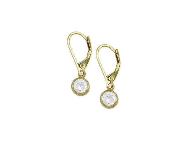 5mm Round 1.10tcw. Genuine White Topaz Leverback 14 karat Gold Earrings