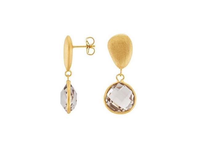 Genuine Sterling Silver Gold Plated Light Smokey Quartz Earrings