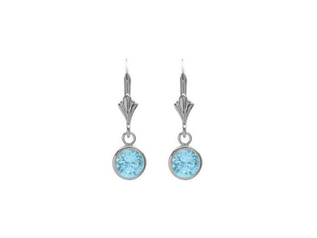 Sterling Silver 1.10 Carat 6mm Created Aquamarine Round Leverback Earrings