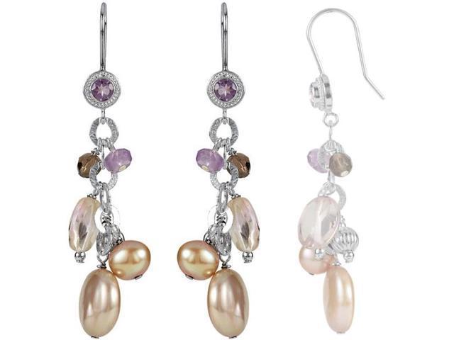 Genuine Sterling Silver Freshwater Pearl & Multi-Gemstone Earrings