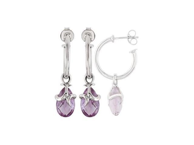 Genuine Sterling Silver Amethyst Hoop Earrings