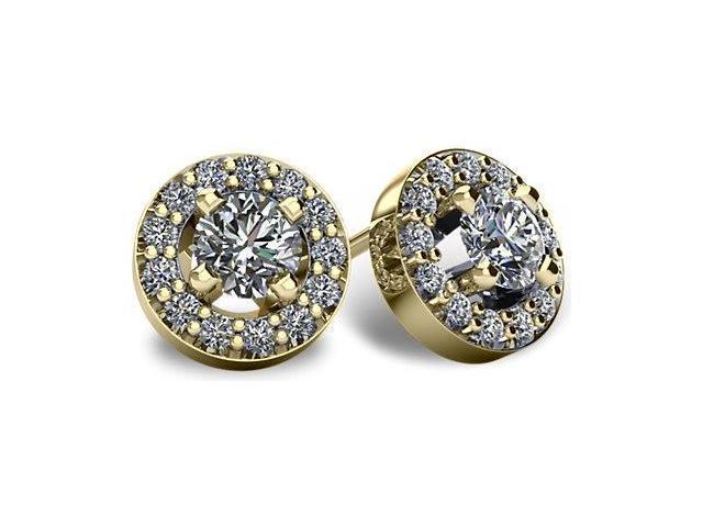 0.65tcw 14 Karat Yellow Gold Screwback Halo I1, GH  Diamond Earrings