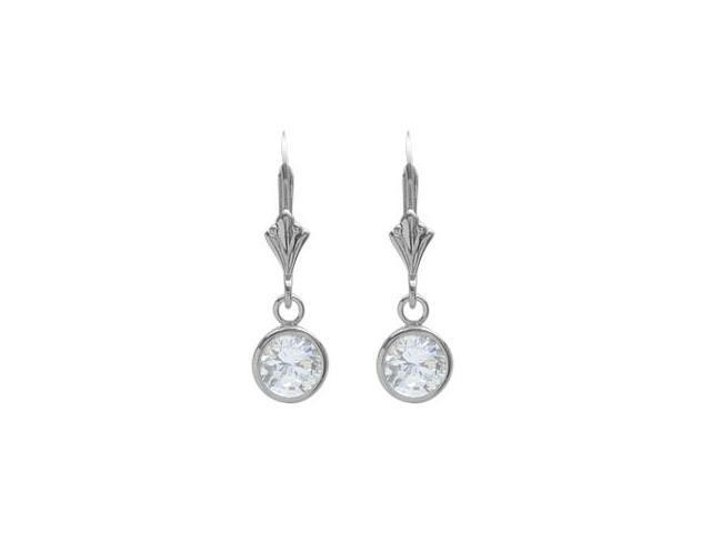 Sterling Silver 1.10 Carat 6mm Genuine White Topaz Round Leverback Earrings