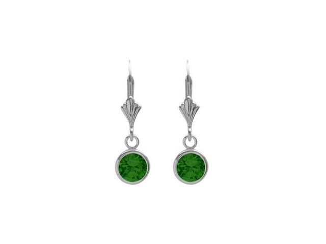 Sterling Silver 0.90 Carat 6mm Created Emerald Round Leverback Earrings