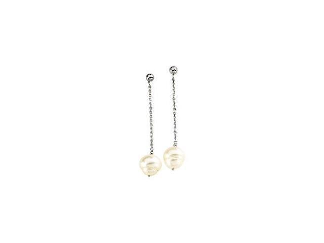 14 Karat White Gold White Pearl Chain Drop Earrings