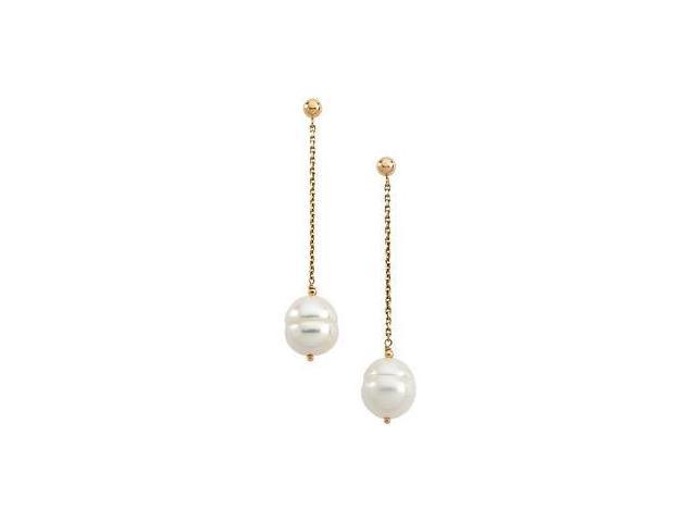 14 Karat Yellow Gold White Pearl Chain Earrings