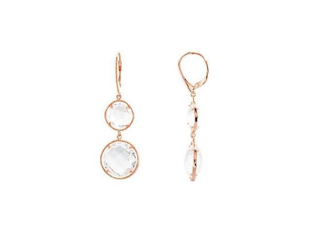 Genuine Sterling Silver Rose & Clear Quartz Earrings