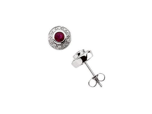 14 Karat White Gold Diamond and Ruby Earrings