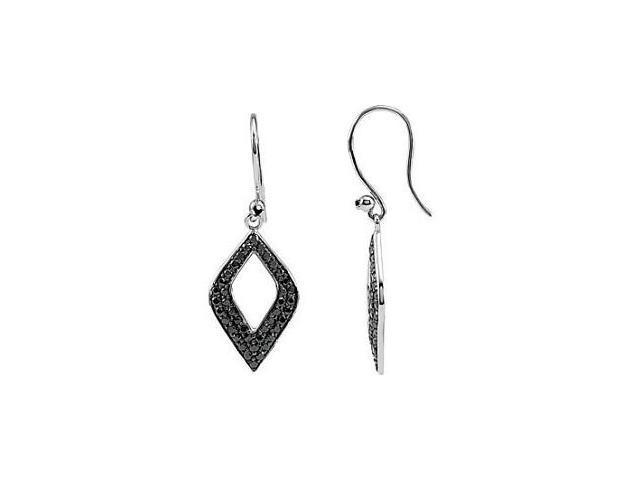 Genuine Sterling Silver Black Spinel Drop Dangle Earrings