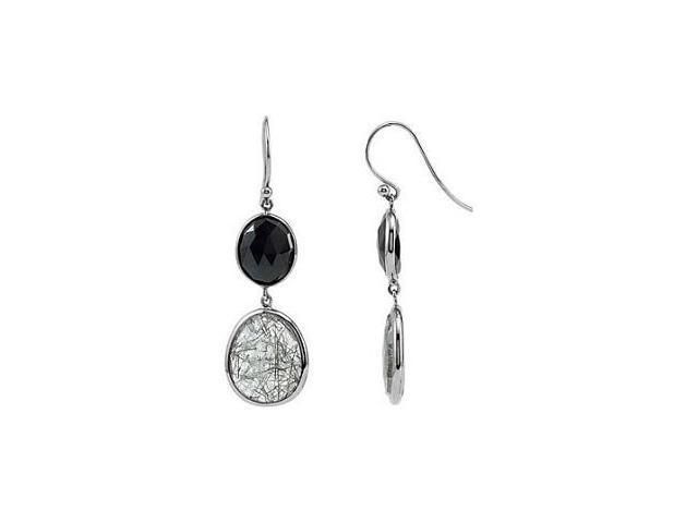 Genuine Sterling Silver Onyx & Quartz Earrings