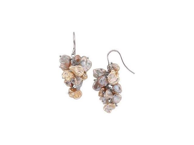 Genuine Sterling Silver Keshi Multi-Color Pearl Earrings