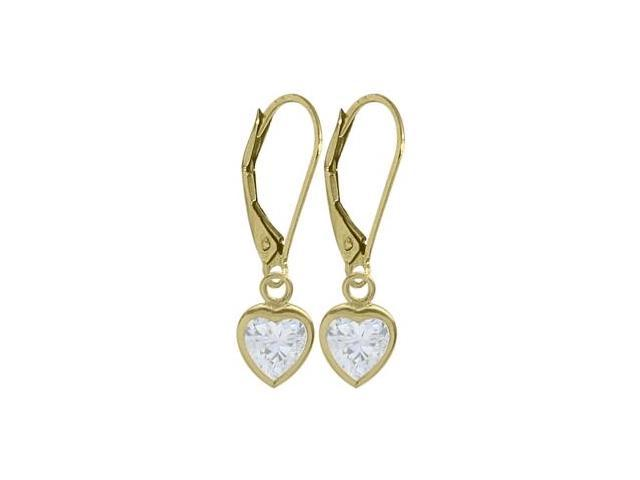 14 Karat Yellow Gold Genuine 1.70tcw. White Topaz Heart Leverback Earrings