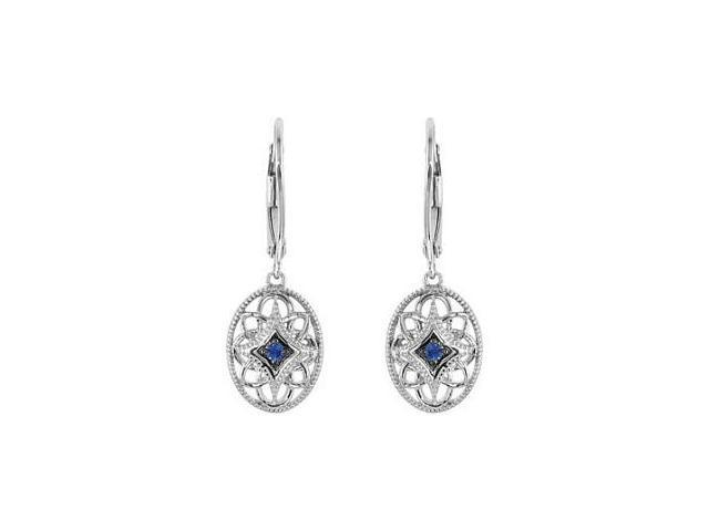 Genuine Sterling Silver Sapphire Leverback Earrings