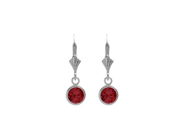Sterling Silver 1.10 Carat 6mm Created Ruby Round Leverback Earrings