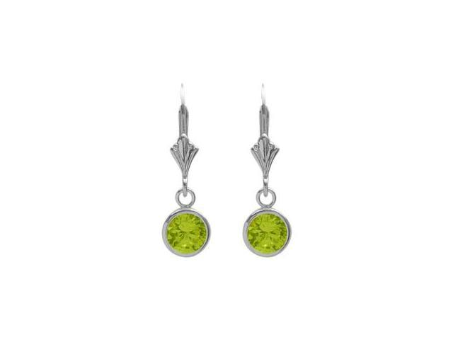 Sterling Silver 1.00 Carat 6mm Genuine Peridot Round Leverback Earrings