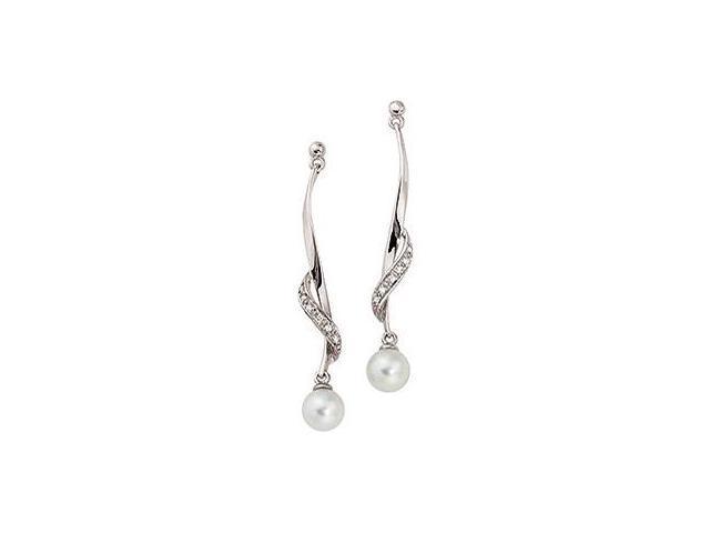 14 Karat White Gold Diamond & White Pearl Earrings