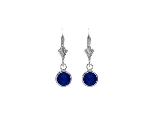 Sterling Silver 1.10 Carat 6mm Created Sapphire Round Leverback Earrings