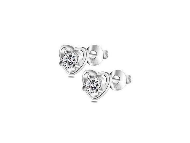 Ladies Stainless Steel Cubic Zirconia Heart Stud Earrings