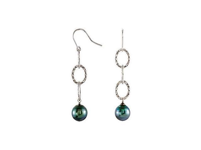 Genuine Sterling Silver Tahitian Black Pearl Earrings