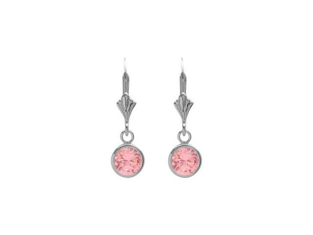 Sterling Silver 1.60 Carat 6mm Created Pink Tourmaline Round Leverback Earrings