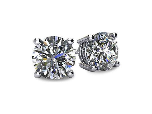 0.75tcw 14 Karat Platinum Screwback Round Brilliant Cut Diamond Earrings