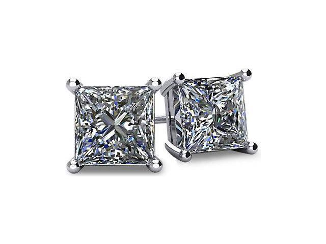1.00tcw 14 Karat White Gold Screwback Princess Cut Certified Diamond Earrings