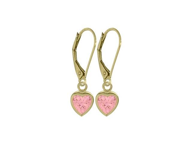 Created 2.60tcw. Pink Tourmaline 14K Yellow Gold Heart Earrings