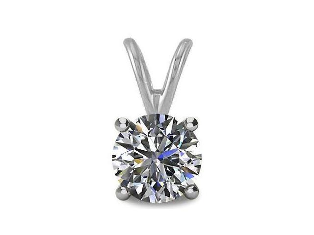 0.50tcw 14 Karat White Gold Round Brilliant Cut Certified I2, JK Diamond Pendant with 18 Inch chain