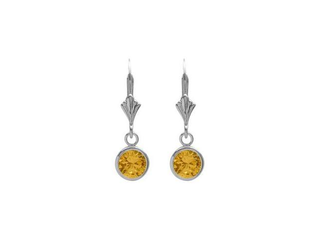 Sterling Silver 0.80 Carat 6mm Genuine Citrine Round Leverback Earrings
